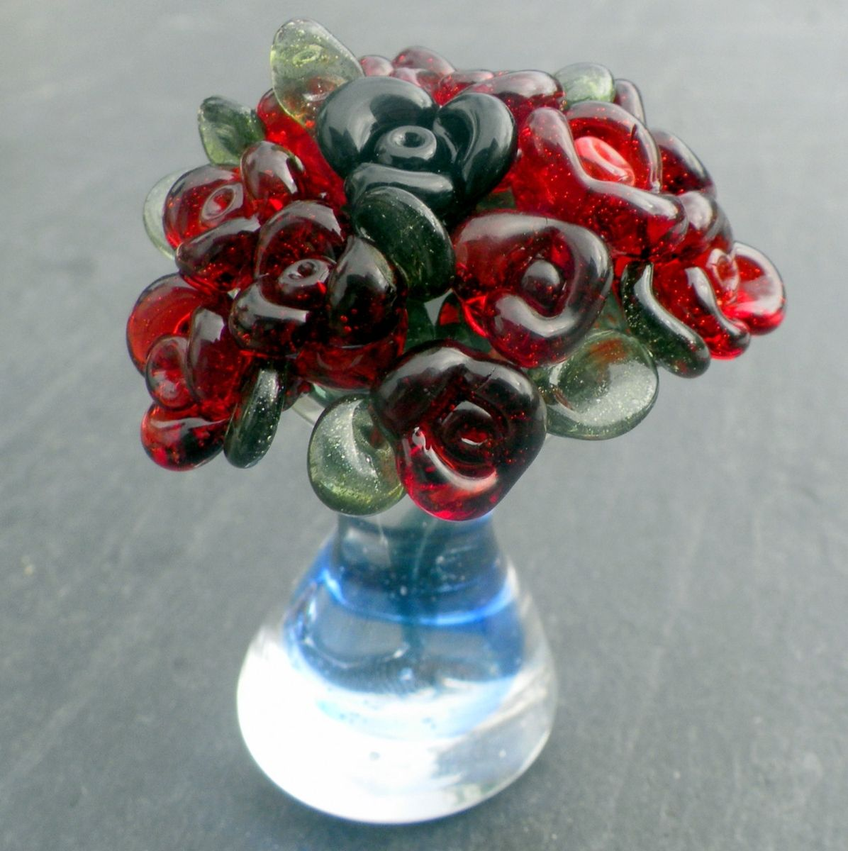 Custom made miniature glass bouquet of red roses in glass vase by custom made miniature glass bouquet of red roses in glass vase by untamed rose custommade reviewsmspy