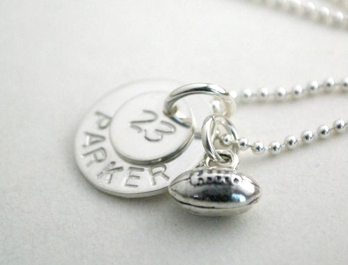 Custom Made Sports Necklace Hand Stamped Sports Name Necklace With Football Charm