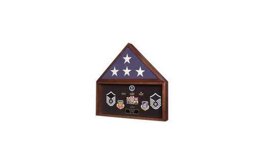 Custom Made Navy Seals Flag Plus Military Medals Display Case - Wall Mount