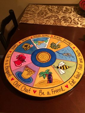 Custom Made Custom Designed And Hand Painted Wood Lazy Susan