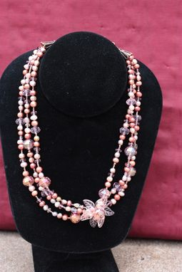 Custom Made Peony Pink ~ Triple Layered Pearl Crystal Copper Necklace