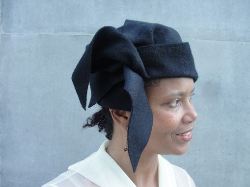 Custom Made Black Wool Felt Hat - Custom Designed Hat -Women's Draped Hat- Ladies Cloche-1910s-1920s-Flapper-Turn Of The Century- Asymmetrical Sculpted/Draped,Ooak
