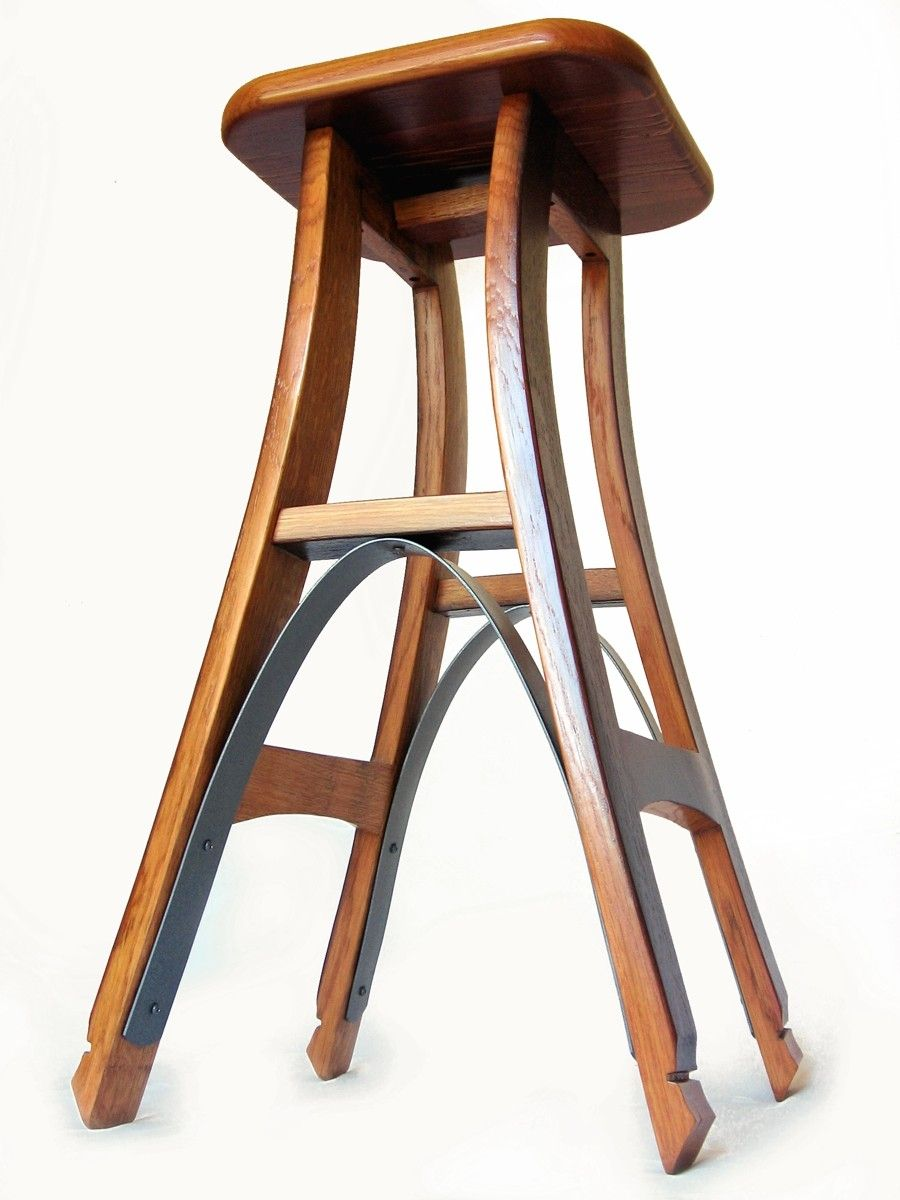 Custom Made Eiffel Barstool Recycled Oak Wine Barrel High Stool