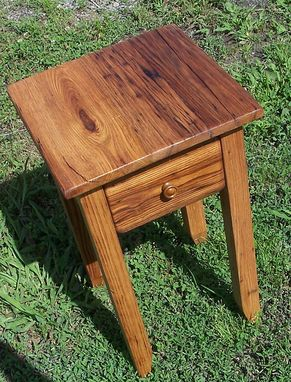 Custom Made Wormy Chestnut Reclaimed Wood End Table With Drawer