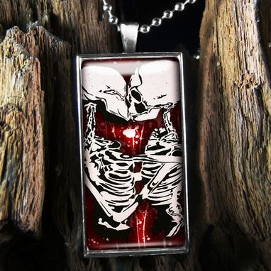 Custom Made Deadly Kiss Gothic Skeleton Sterling Silver Necklace 349-Srcn