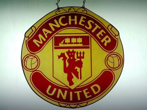 Custom Made Manchester United Stained Glass Hanging - Available For Sale