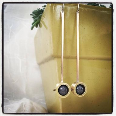 Custom Made Jade Drop Earrings In Brass