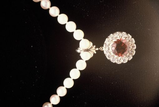 Custom Made White Gold 'Pearl-Enhancer' With Garnet And Diamonds