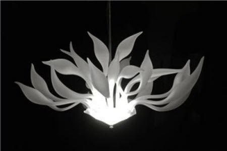 Custom Made Fiore Hand Blown Glass Chandelier - Bianco