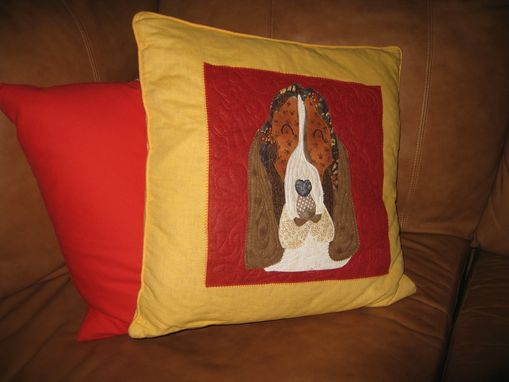 Custom Made Beloved Buddy Memory Quilt- Throw Pillow- Custom Pet Memorial Portrait