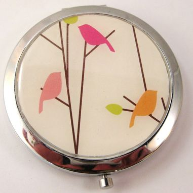 Custom Made Double-Sided Compact Mirror With Birds On A Branch Design
