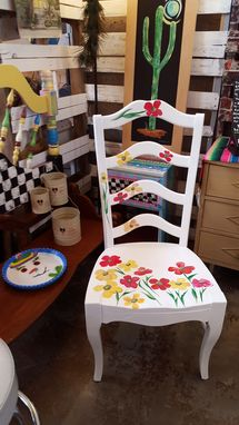 Custom Made Solid Wood High Back White Chair Red Poppies
