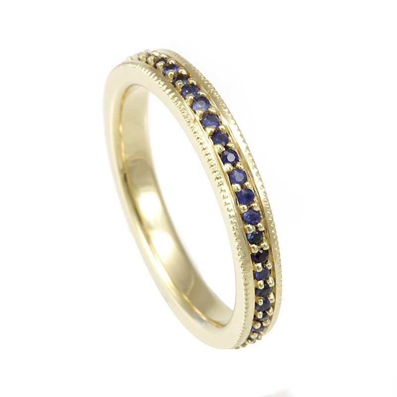 Buy a Hand Made Blue Sapphire Eternity Ring In 18k Yellow Gold