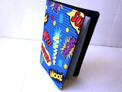 Custom Made Handmade Passport Cover Comic Words Sounds, Vegan