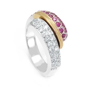 Custom Made Ruby Diamond 14k 2tone Ring