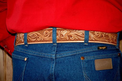 Custom Made Hand Tooled Leather Belt  -  Your Size