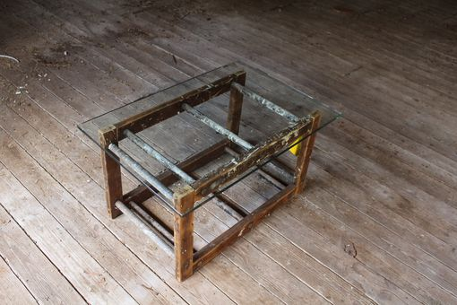 Custom Made Old Wood Ladder And Glass Coffee Table