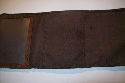 Custom Made Custom Leather Trifold Wallet With Corner Celtic Design In Bison Brown