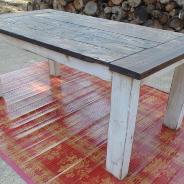 Reclaimed Wood Chunky-Leg Parsons Style Farmhouse Table