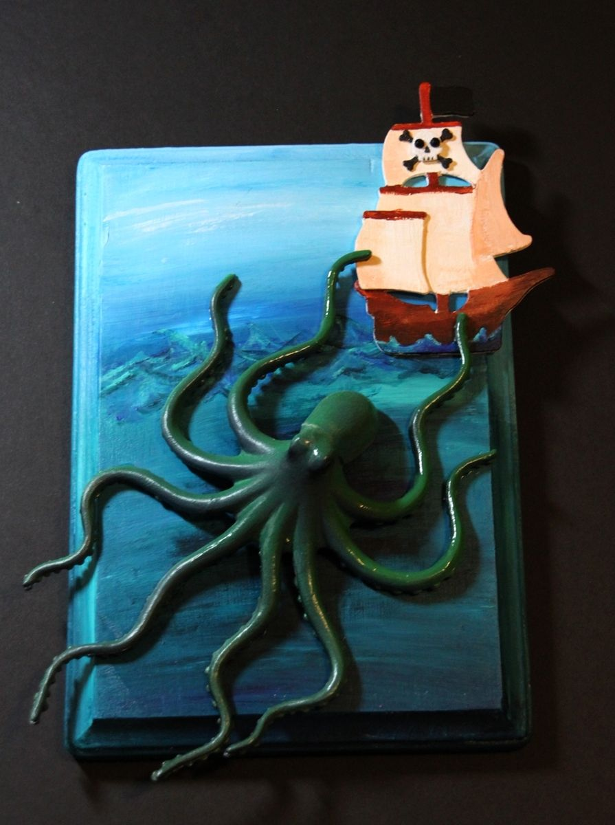 Custom Giant Octopus Kraken Attacking Pirate Ship Mixed Media Art