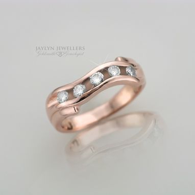 Custom Made Rose Gold And Diamond Wave Band