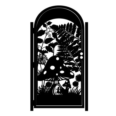 Custom Made Decorative Steel Garden Gate - Fairytale Mushroom Design - Artistic Steel Panel - Custom Gate