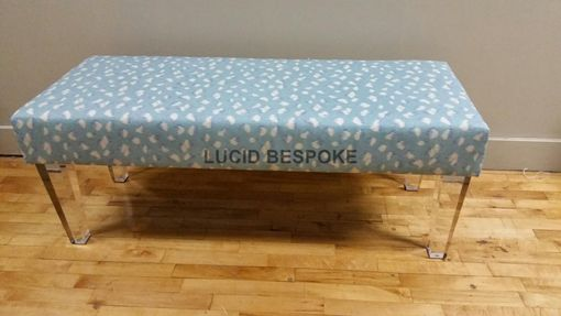Custom Made Made To Order Smooth Upholstered Bench With Lucite Legs