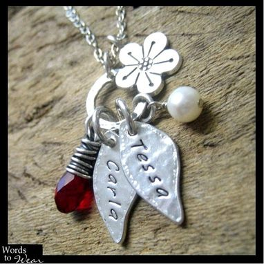 Custom Made Rustic Petals Silver Hand Stamped Personalized Necklace