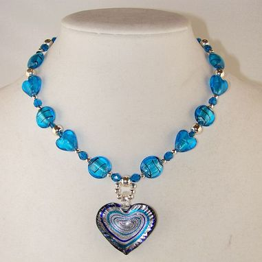 Custom Made My Blue, Blue Heart Necklace