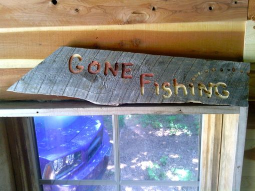 "Custom Made Repurposed Barnwood Sign With ""Gone Fishing"" Engraving"