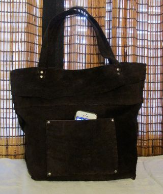 Custom Made Large Nubuck Leather Dark Brown Tote Bag Boho Western