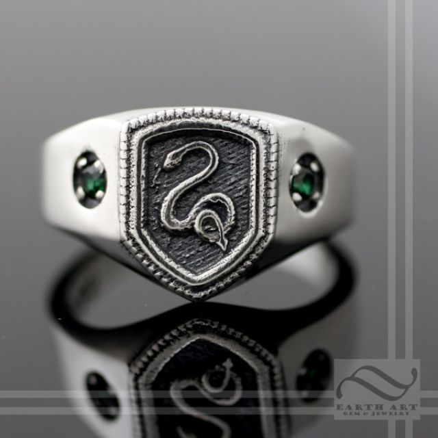 buy a hand made slytherin house ring harry potter inspired made to order from earth art gem jewelry custommadecom - Harry Potter Wedding Rings