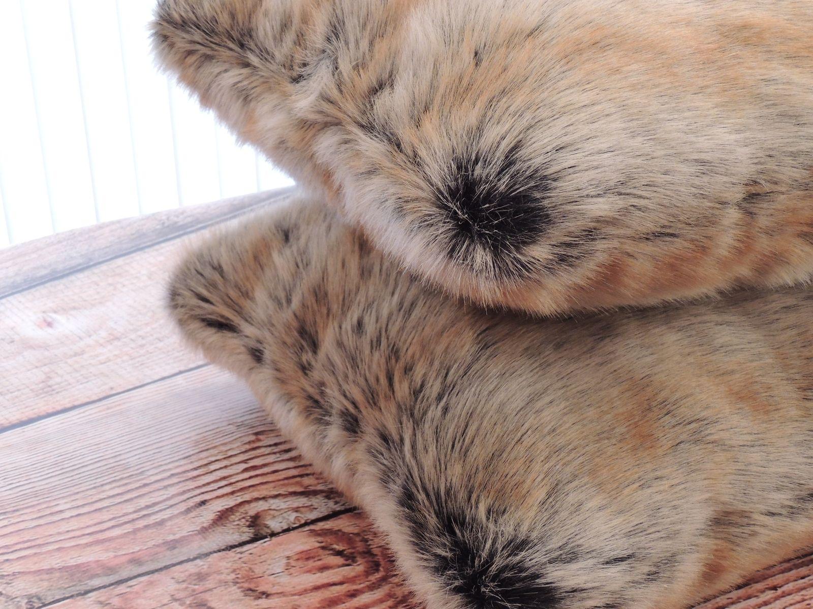 Custom Chinchilla Fur Gold Faux Fur 18 X 18 In Decorative