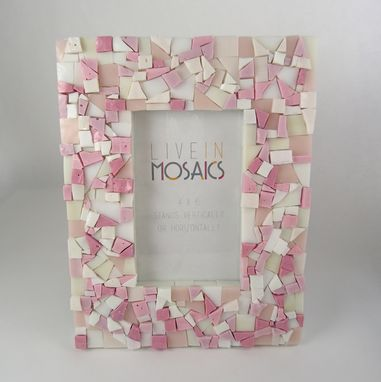 Custom Made Pink Mosaic Picture Frame 4x6