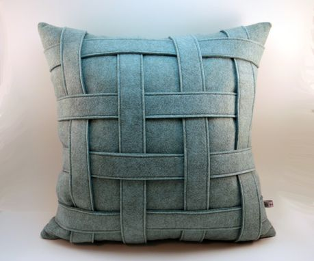 Custom Made Aqua Wool Felt Pillow - Basket Weave Texture, Handmade Modern Pillow