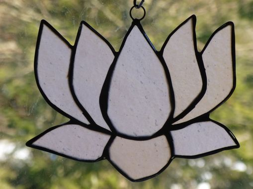 Custom Made Pink Iridescent Stained Glass Lotus Flower