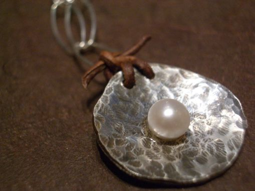 Custom Made Pearl, Leather, And Sterling Silver Necklace