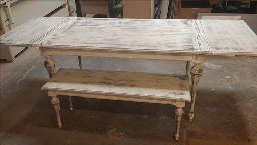 Custom Made White Washed Table And Bench