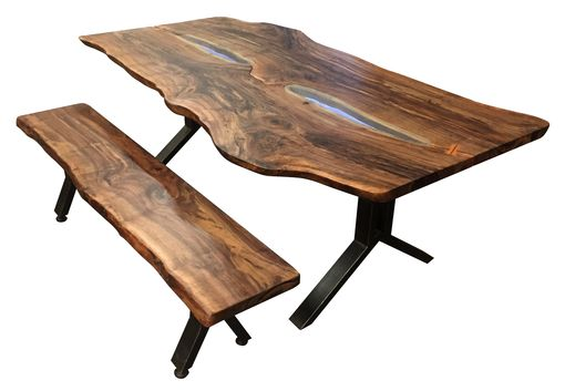 Custom Made Live Edge Walnut Slab Dining Set