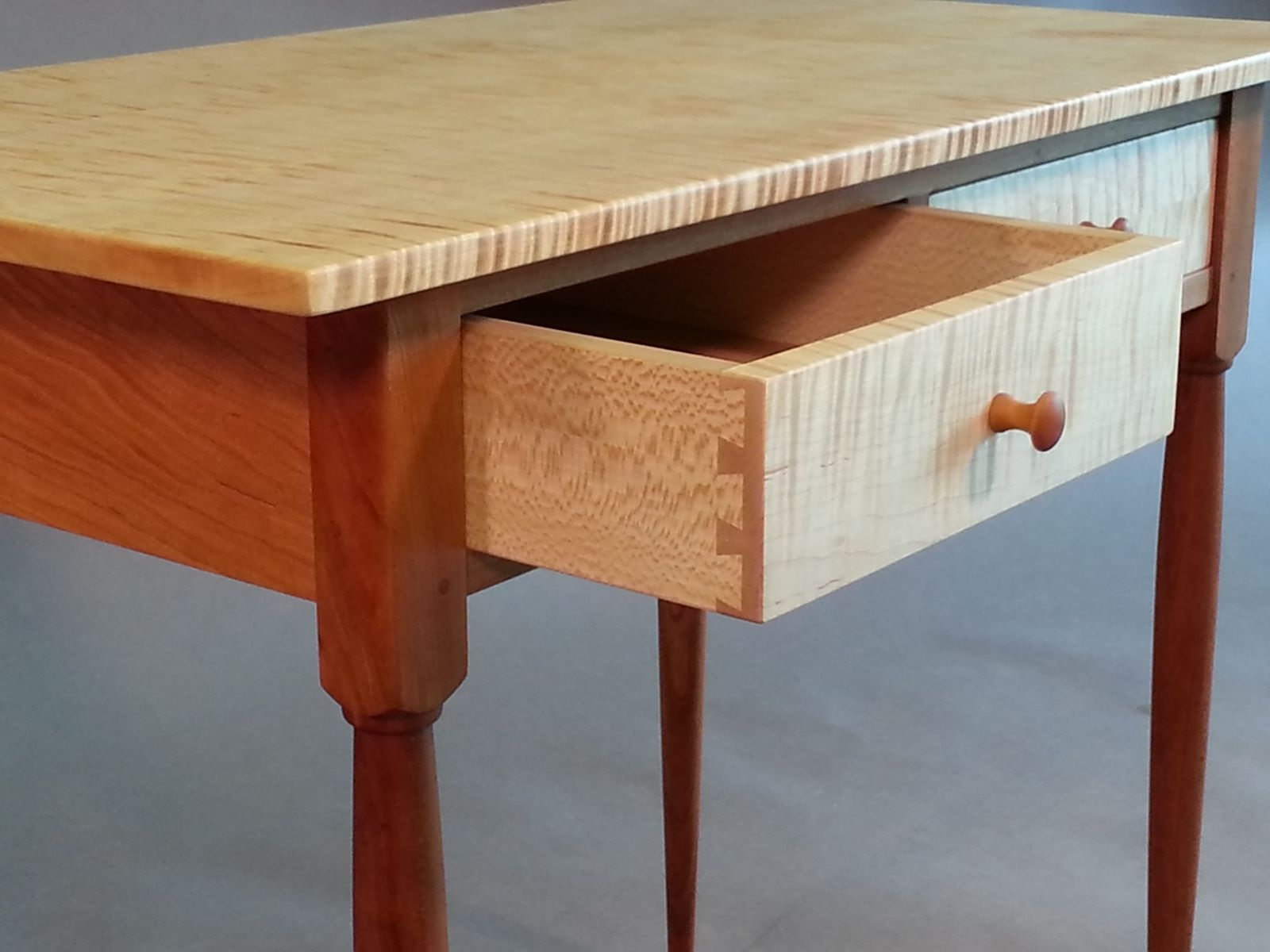hand made cherry and tiger maple shaker side table by