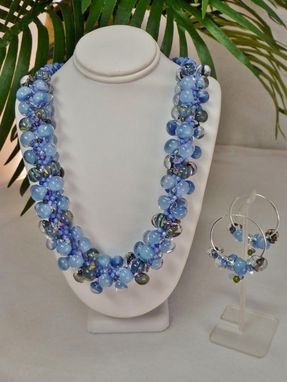 Custom Made Set - Mountain Winter Storm Kumihimo Necklace And Matching Bracelet And Earrings