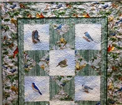 Custom Made Custom Made Bird Throw Quilt #3