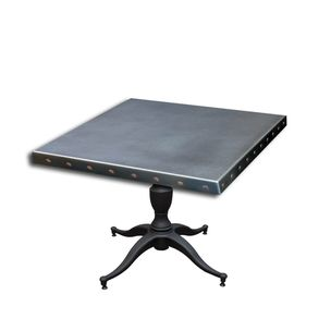 bbdbff5bdb01f  56 Zinc Table Top With Copper Rivets And Cast Iron Base