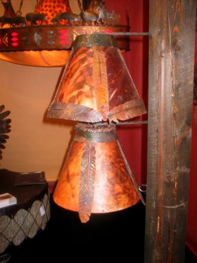Custom Made Hand-Dyed Rawhide And Iron Feather Lampshades