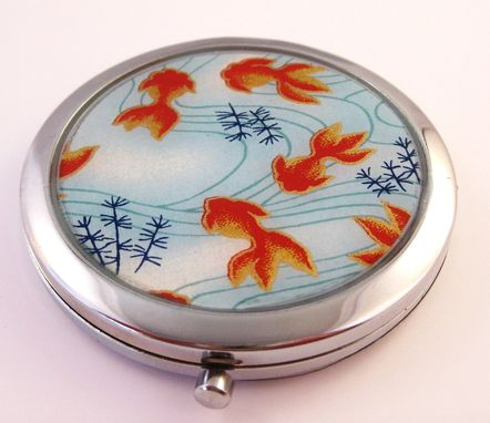 Custom Made Double-Sided Compact Mirror With Japanese Koi Design