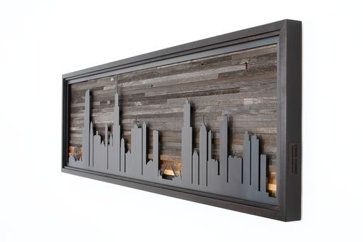 Custom Made City Night Skyline Made From Old Reclaimed Barnwood And Natural Steel. Large Artwork