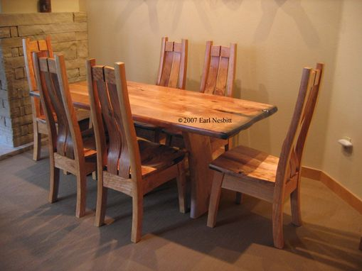 Custom Made Dining Table With Six Chairs, Mesquite And Alder
