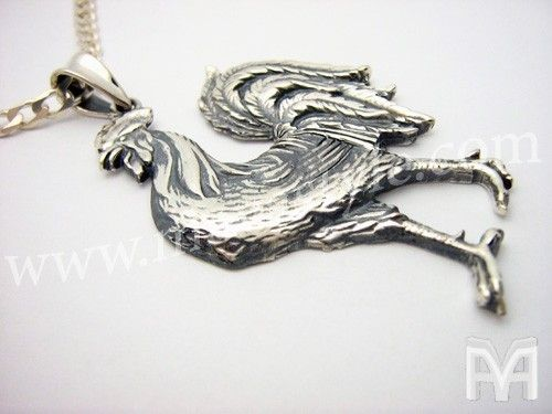 Custom Made Sterling Silver Rooster Zodiac Cock Chicken Pendant