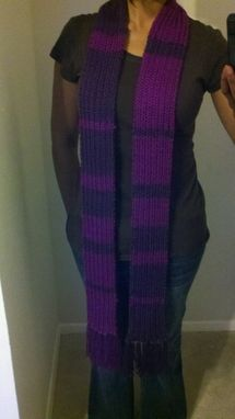 Custom Made Two-Tone Purple Knitted Ribbed Scarf