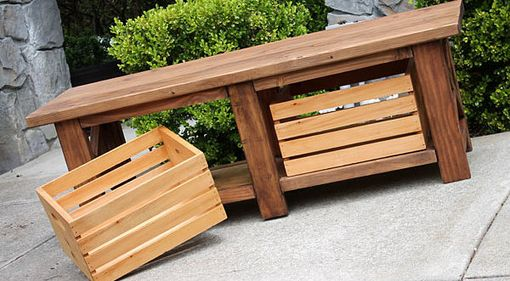 Custom Made Rustic X Wood Bench Table With Crates For Storage - Indoor / Outdoor
